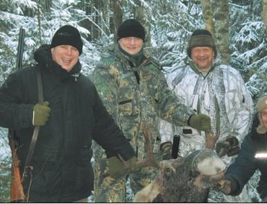 Облавные охоты на лося и кабана.