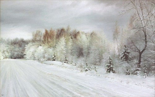 Работы художника Романа Романова. Зимние пейзажи. (21 фото)