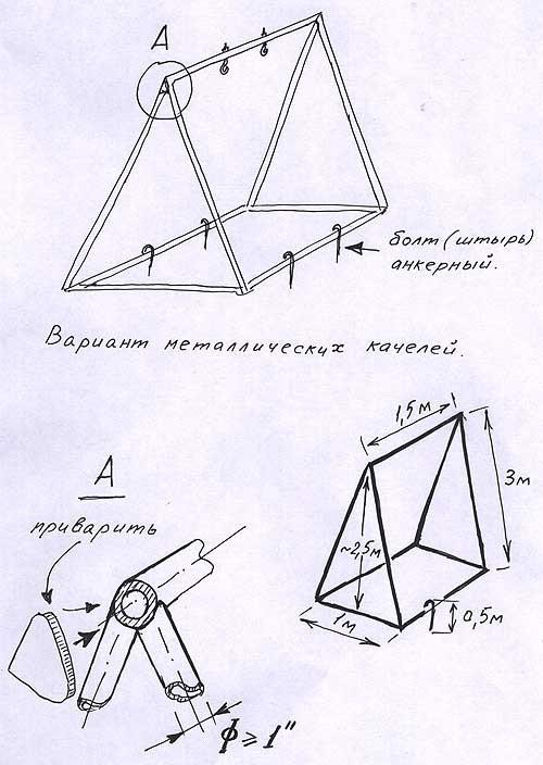 Качели из металла для детей чертежи
