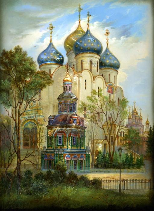 Федоскинская миниатюра. Часть 1. Русь святая, купола златые! (40 фото)