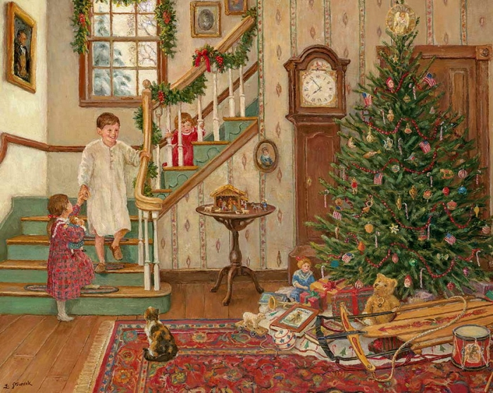 Новогоднее настроение в картинах художников. (42 фото)