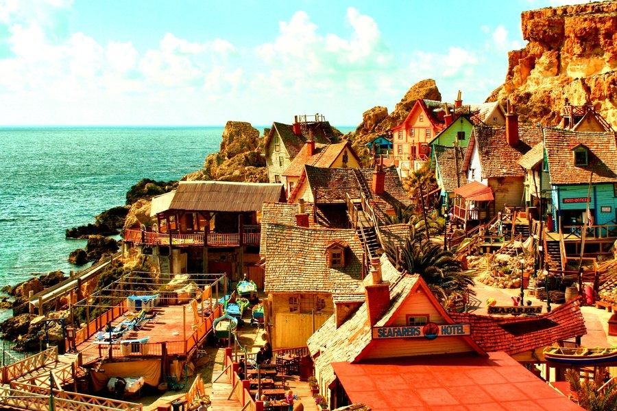 "Результат пошуку зображень за запитом ""Деревенька Sweethaven Popeye Village на Мальте. Фото."""